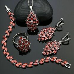Red Garnet Flower Leaves Oval Stone Jewelry Set 925 Sterling Silver Gift