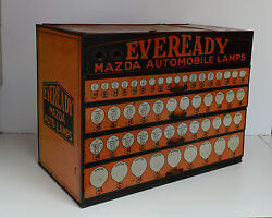 Vintage Mazda Auto Light Bulb Eveready Display Dealer Cabinet Extremely Rare