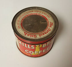 Vintage Hills Brothers Coffee Tin 1/2 Lb 227 Grams The Correct Grind