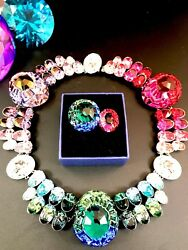 Rare Euphory Rainbow Palette 3 Way All-around Necklace Double Ring Set