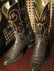Unbelievable Rare Vintage Hyer Full Quill Ostrich Boots Sz Menand039s 10 D
