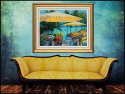Howard Behrens Hand Embellished Giclee Flowers By The Sea Signed Art Floral Art