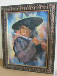 Henry Van Velthuysen Chinese Boy Playing Flute Original Canvas Painting, Frame
