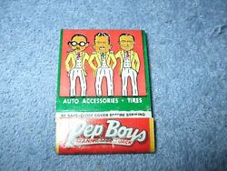 Pep Boys Matchbook Manny, Moe And Jack Cadet Battery Mint Condition