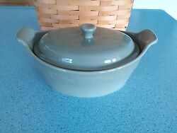 Longaberger Pottery Small Oval Casserole Dish And Lid Sage Green New In Box