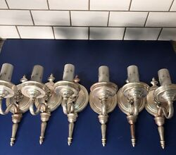 Set Of 6 Antique American Traditional Nickel Plated Heavy Brass Sconces 59a