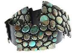 HUGE Native American Sterling Silver MIXED Turquoise Cluster WOW Concho Belt 43
