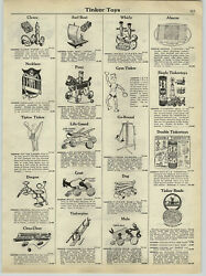 1929 Paper Ad Early Vintage Tinker Toys Gym Mule Tiptoe Pony Toy Kraft Pull