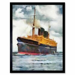 Travel Ship Viceroy Of India Mail Passenger Cruise Watercolour Framed Print