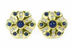 3.30tcw Sapphire Cabochon And Diamond Disc Earrings 18k