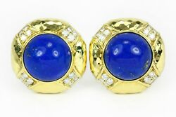 Blue Lapis Lazory Diamond And Gold Clip On Earrings Clip On Earrings Gold 18k