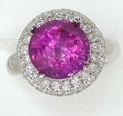 14K WHITE GOLD  RING  7.40ct NATURAL PINK SAPPHIRE ROUND SHAPE