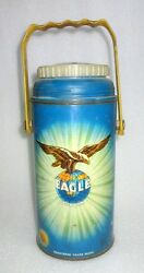 Vintage Old Collectible Eagle Mark Blue Color Metal Hot Thermos Litho Print
