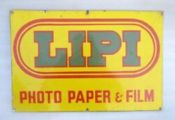 Vintage Old Lipi Photo Paper And Film Ad Collectible Porcelain Enamel Sign Board