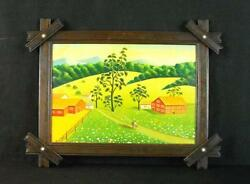 Vintage Oil On Canvas Beautiful Rural Country Scene Signed In Adirondack Frame