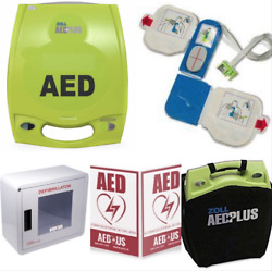 Zoll Aed Plus Business Package- Recertified, Alarmed Wall Cabinet, 3-d Sign