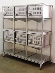 Lab Products Inc Stainless Steel Modular Cage Unit - 6 cages Stainless Steel