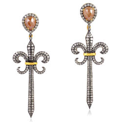 6.25ct Diamond Gold Fleur De Lis Sword Design Earrings Sterling Silver Jewelry