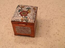 Vintage Champleve Copper Metal Enamel Stamp Box Hinged Pretty And Nice