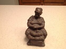 Vintage Black Americana Figurine Statue Handcarved Signed And Numbered Woman