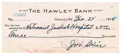 The Hawley Bank - Cancland039d Check Payable To The National Jewish Hospital 1945-46