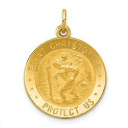 14k 14kt Yellow Gold Us Air Force Saint Christopher Medal Pendant 25 Mm X 19 Mm