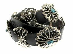 Navajo Sterling Silver Sand Cast Rosette Turquoise Concho 46 Black Leather Belt