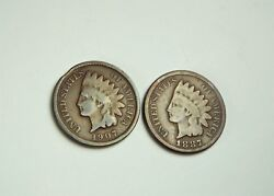 Lot Of 2 Indian Head Penny - 1887 And 1907 Clipped Planchet Mint Clip Error