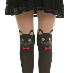 HOT TOPIC LOVE SICK KITTY CAT DESIGN FAUX THIGH HIGH TIGHTS RED BOW IN SM  ONLY