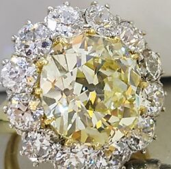Stunning Vintage Platinum ring natural yellow euro cut diamond 22.26ct GIA SI2