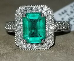 14k White Gold Ring 1.95ct. Natural Green Emerald