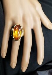 18k Yellow Gold  Ring 13.76ct. Natural Gem Oval Cab Citrine
