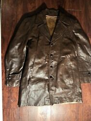 Scully Leatherwear Men's Full Button Down Brown Leather Jacket Size 40 Regular