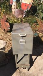 Vintage Remington Rand Collapsable Cabinet Rolling Industrial Grey