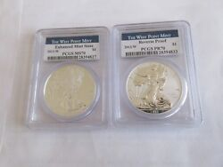 2013 W American Eagle Silver Dollar 2 Two Coin Set. Pcgs Pr70/ms70