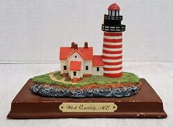 Resin Figurine West Quoddy Me Lighthouse Historic American Lighthouses