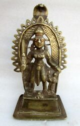 Antique 1850's Old Brass Fine Work South India Hindu God Shiv Incarnation Statue