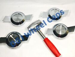 Chevy Type Chrome Cut Spinners And Red Lead Hammer For Lowrider Wire Wheels
