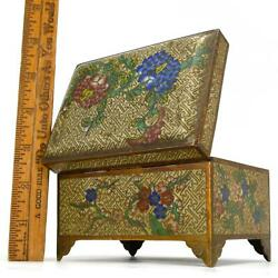 Antique Cloisonne Footed Hinged Box Chinese/japanese Brass/bronze 3x5x3 Floral