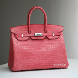 AUTHENTIC HERMES BIRKIN BAG  PINK Croc with silver 35cm
