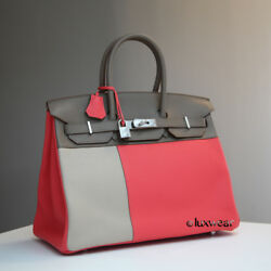 ROSE JAIPUR and Gray 35cm AUTHENTIC HERMES Tricolor BIRKIN with silver hardware