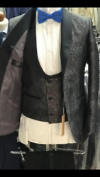 Floral Grey Ceremonial Shawl Lapel Tuxedo With Double Breasted Vest
