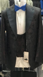 Brown/black Silk Lapel Ceremonial Tuxedo With Double Breasted Vest