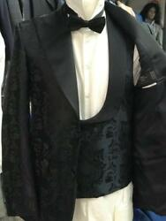 Floral Black Ceremonial Wide Peak Lapel Tuxedo With Double Breasted Vest