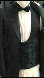 Floral Navy/black Ceremonial Wide Peak Lapel Tuxedo With Double Breasted Vest