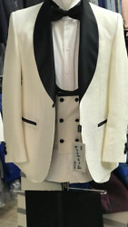 Off White Shawl Lapel Tuxedo With Double Breasted Vest