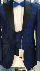 Ink Blue/black Silk Ceremonial Wide Peak Lapel Tuxedo With Double Breasted Vest