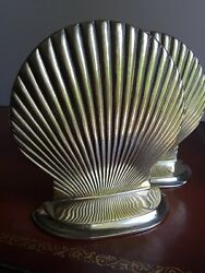 Beautiful Solid Brass Shell Bookends - Super Shiny Beach House Decor