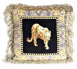 Needlepoint Throw Pillow Cover Petit Point Versace Limited Edition Leopard 20x20