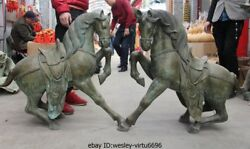 Chinese Palace Bronze Copper Feng Shui Lucky battle steed War Horse Statue Pair